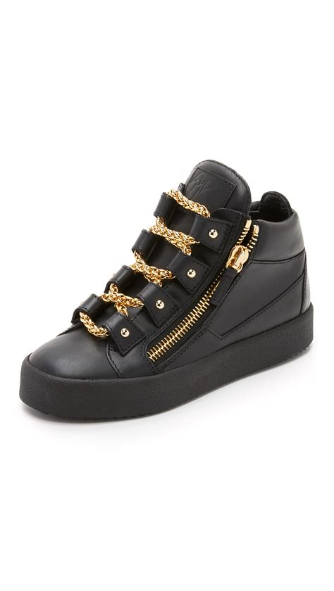 all giuseppe sneakers giuseppe zanotti leather chain sneakers in black lyst