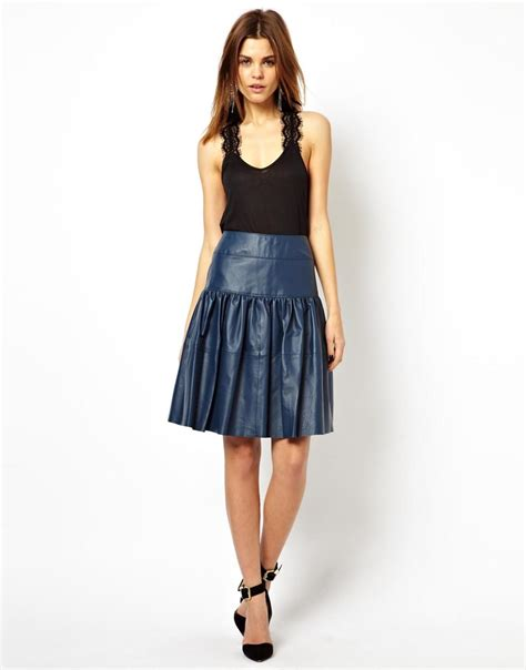 faux pleated leather skirt dress