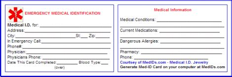 Printable Emergency Id Cards | 8 best images of free printable medical cards free