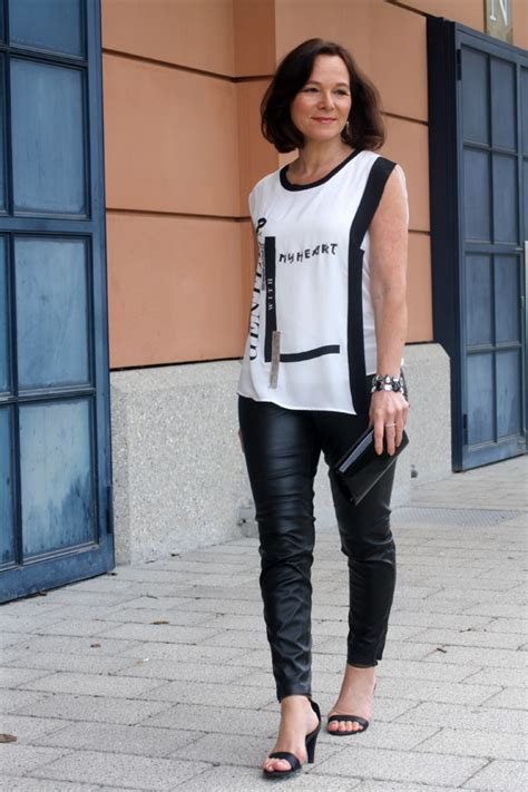 edgy older women fashion elegant edgy party look in leather leggings lady of style