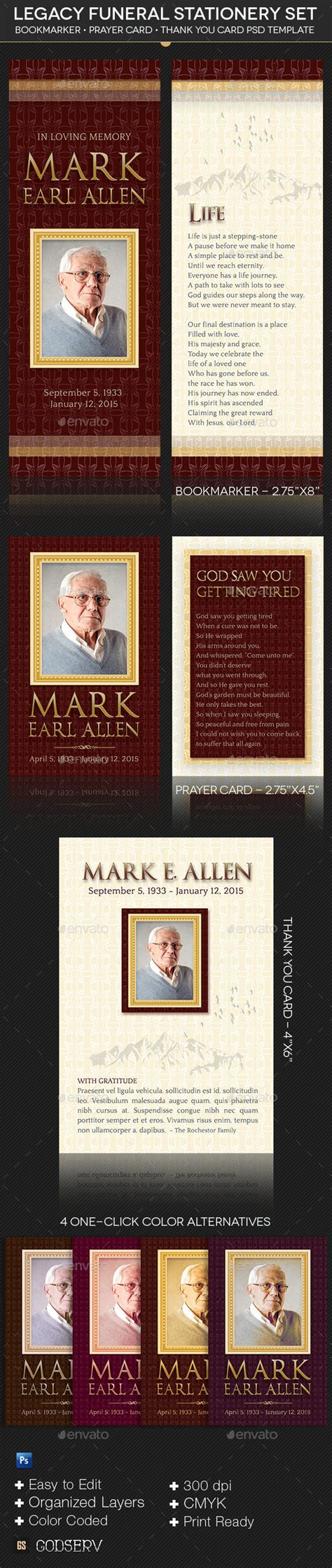 prayer card template photoshop legacy funeral stationery template set graphicmule