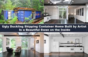 Duckling shipping container home built by artist is a beautiful