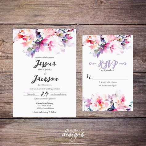 invitation design print yourself printable watercolor floral wedding invitation suite