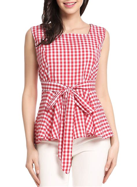 Blouse Square plaid square neck sleeveless bow knot ruffle blouse oasap