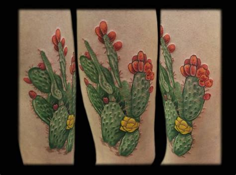 cactus flower tattoo brilliant cactus with flower by mess