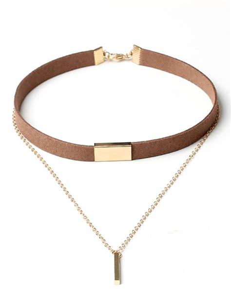 layered bar pendant velvet choker necklace fashionmia