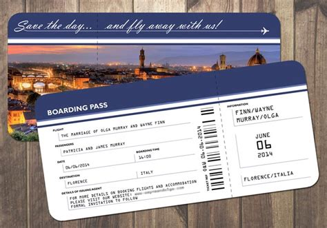 air ticket wedding invitation card template florence wedding