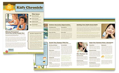 Child Development School Newsletter Template Word Publisher Microsoft Publisher Templates Free