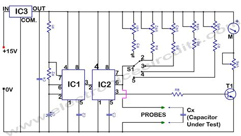 capacitance meter schematic diagram capacitance meter electronic circuits