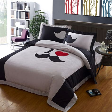 mustache comforter mustache bedding high thread count gray mustache bedding