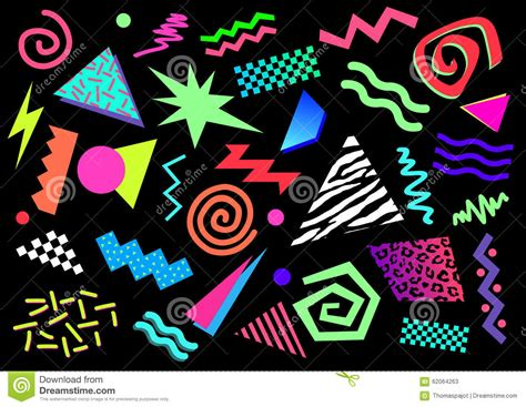80 s colors 80s 90s abstract shapes stock vector illustration of
