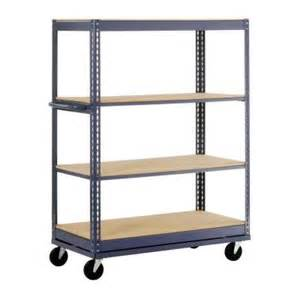 edsal heavy duty 4 shelf steel shelving edsal 66 in h x 60 in w x 24 in d 4 shelf mobile steel