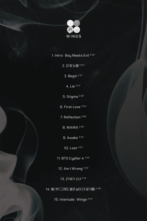 bts song list bts reveals track list for 2nd full album quot wings quot soompi