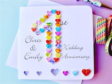 wedding anniversary card etsy 1st wedding anniversary card handmade personalised