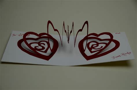 spiral heart pop up card template