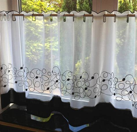 retro cafe curtains jazz black retro swirl voile cafe net curtain panel