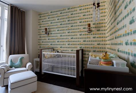two tone furniture trend project nursery design reveal train wallpapered boy s nursery