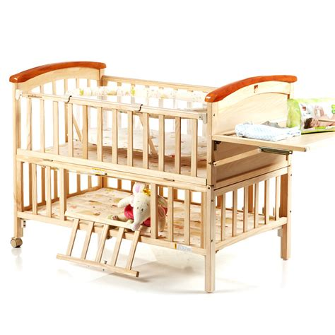 High Quality Pine Wood Baby Bed No Paint Environmental Baby Portable Crib