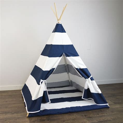 kids teepee kids play teepee and play mat in navy blue and white large