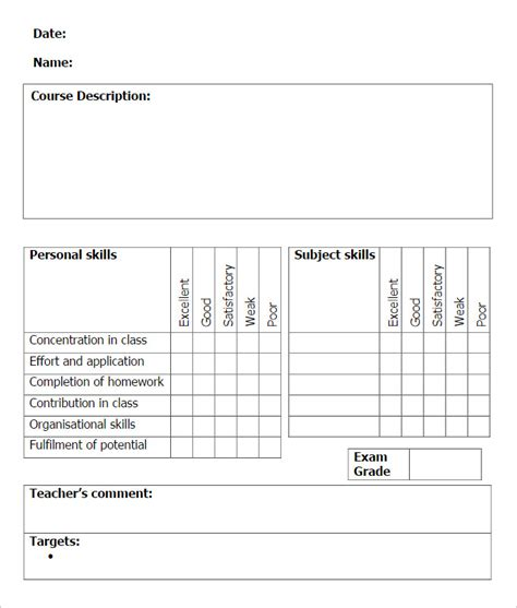school report card template doc sle school report templates exles 14 free word
