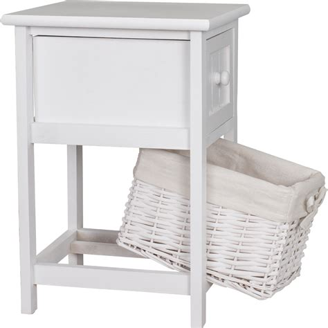 White Wicker Storage Drawers by Shabby Chic Wooden White Bedside Units Table Drawers With