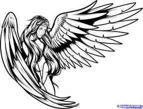 how to draw tattoos step by step angel line drawing clipart best