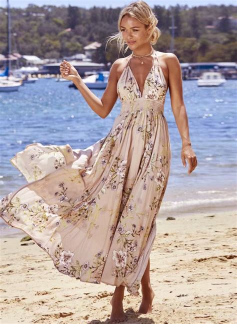 Bohemia Dress v neck sleeveless backless floral printed maxi bohemian
