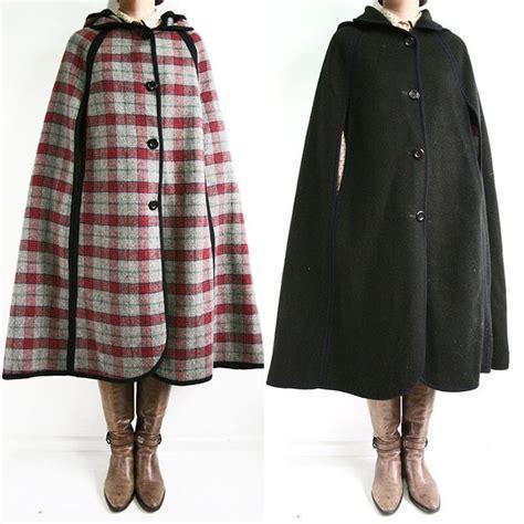 pattern cloak of the black void vintage 70s stunning check pattern black reversible wool