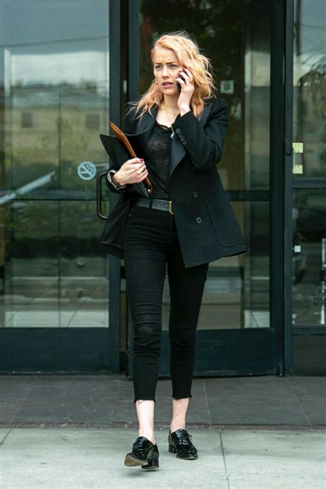 amber heard   black blazer     los angeles