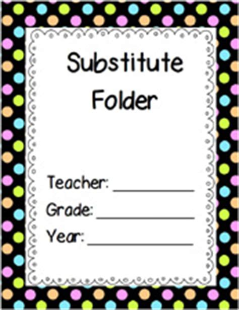 Substitute Teacher Printable Forms For Preschool And Kindergarten Pre K Pages Substitute Folder Template
