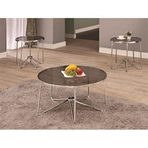 Glass Coffee Table Set Coaster Lois 702335 Grey Glass Coffee Table Set A