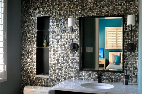 black mosaic bathroom black lip mother of pearl mosaic bathroom