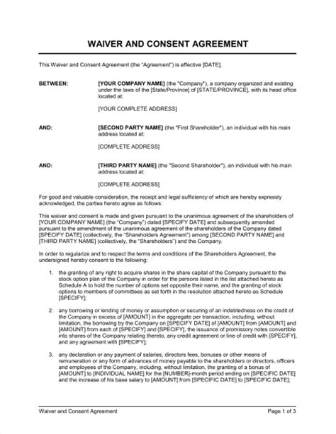 Contract Waiver Letter Waiver And Consent Template Sle Form Biztree