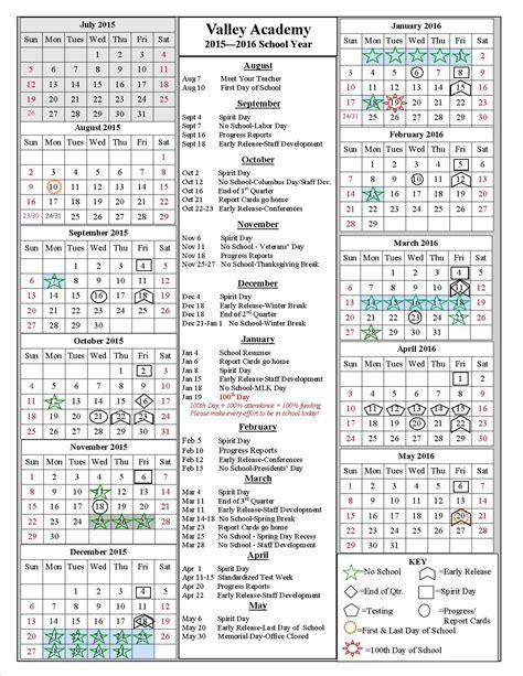 Calendar 2015 16 School Year School Year Calendar 2015 2016 Valley Academy