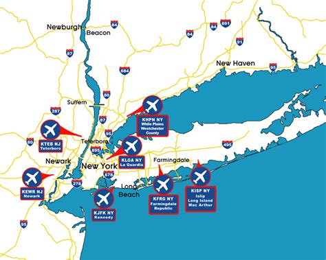 map of with airports new york airports map