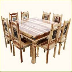 9pc rustic square dining room table chair set for 8 people