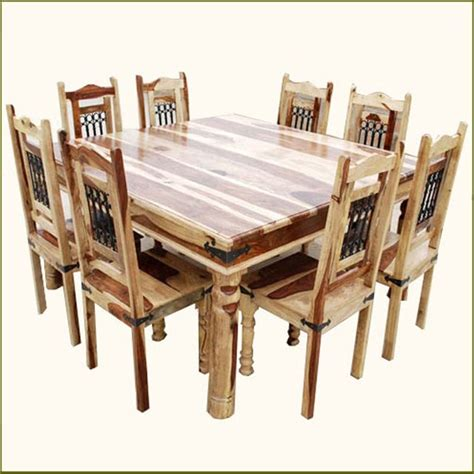 8 Person Dining Table Set 9pc Rustic Square Dining Room Table Chair Set For 8 Traditional Dining Sets