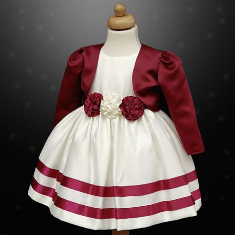 Dress Rabbit Bolero Ribbon burgundy ivory ribbon rosette dress bolero jacket baby toddler junior flower