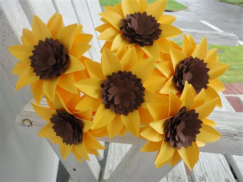 How To Make Sunflowers Out Of Paper - paper sunflower bouquet sunflowers by poshstudios on