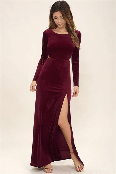 Longdress Velvet besame burgundy velvet sleeve maxi dress sleeve maxi and maxi dresses