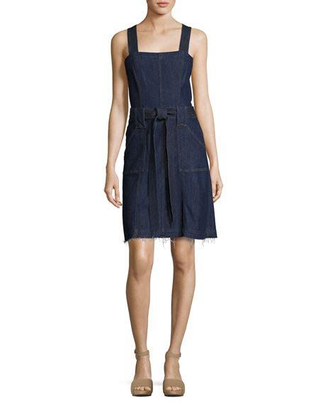 Denim Black Belted Dress 7 for all mankind sleeveless belted denim dress indigo