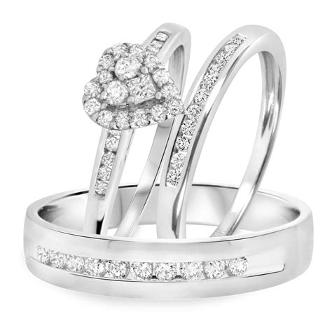 3 4 carat t w trio matching wedding ring set 14k