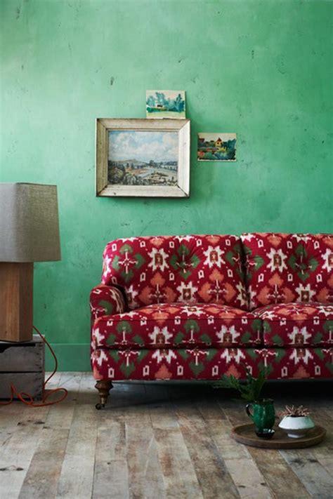 bohemian apple green living room