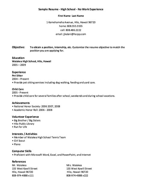 sle high school resume with work experience high school no work experience resume exle free