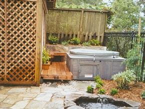 Sheds For Tubs by Tub With Small Deck And Storage Shed