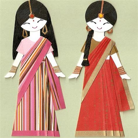 Indian Paper Crafts - sari paper dolls saree dreams