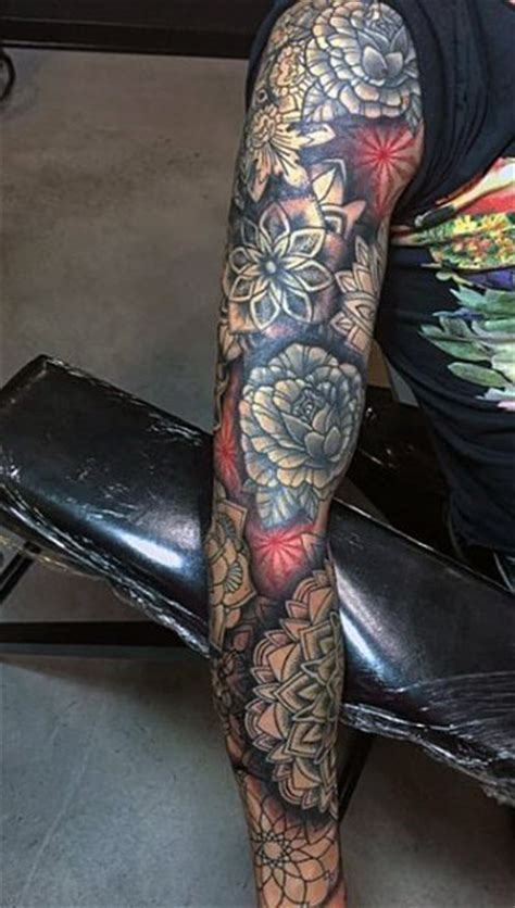 flower tattoo sleeves for men 50 flower tattoos for a bloom of manly design ideas