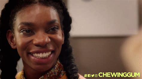 smile format gif michaela coel fake smile gif by chewing gum gif find