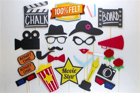 free printable hollywood photo booth props red carpet photobooth props 24 piece photo props hollywood