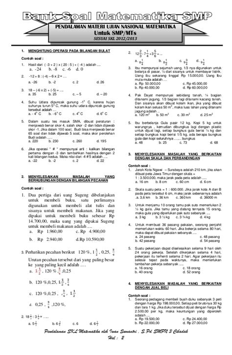 Lu Bulat Cb pendalaman skl un 2013 matematika smp